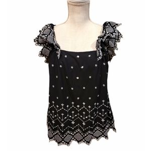 Old Navy Women Black Square-Neck Embroidered Top